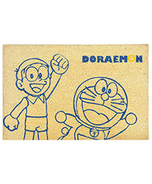 Saral Home Doraemon Theme Heavy Duty Coir Door Mat - Light Beige Blue