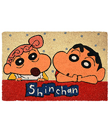 Saral Home Shinchan Theme Heavy Duty Coir Door Mat - Red Beige