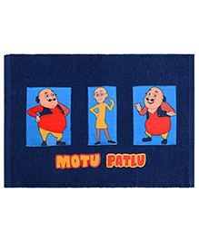 Saral Home Motu Patlu Theme Cotton Chenille Rug - Navy Blue