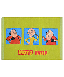Saral Home Motu Patlu Theme Cotton Chenille Rug - Green