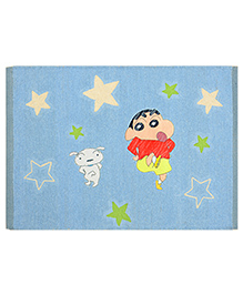 Saral Home Shinchan Theme Cotton Chenille Rug - Blue