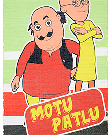Saral Home Motu Patlu Theme Cotton Rug - Red Yellow Green
