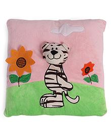 Square Shape Pillow Tiger Applique - Pink