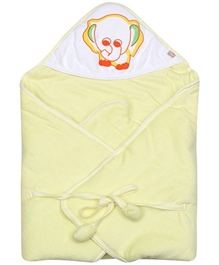 Tiny Care - Hooded Baby Yellow Towel With Elephant Print - 68x68 Cm