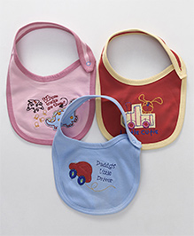 Ohms Bibs With Snap Button Closure Car Patch Pack Of 3 - Blue Pink Red