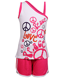 Little Pixies - Sleeveless Top And Shorts - Peace Love Print