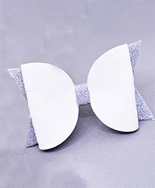 Little Tresses Shimmer Double Bow Allligator Clip - White & Silver