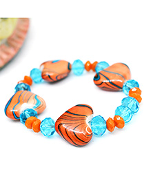 Little Tresses Heart Bead Bracelet - Orange & Blue