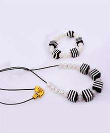 Little Tresses Stripes Square Bead Necklace & Bracelet Set - Black