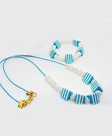Little Tresses Stripes Square Bead Necklace & Bracelet Set - Blue