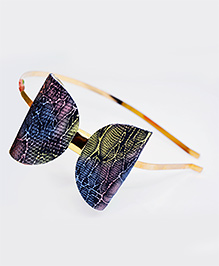 Little Tresses Printed Metallic Bow Headband - Blue