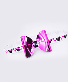 Little Tresses Mouse Print Bow Stretchable Headband - Pink
