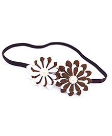 Little Tresses Twin Flower Thin Stretchable Headband - Brown