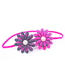 Little Tresses Twin Flower Thin Stretchable Headband - Pink