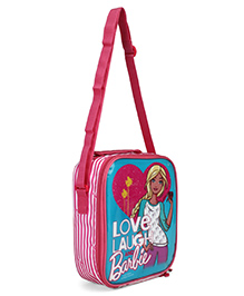 Barbie Lunch Case Bag Love Print Blue Pink - Height 10.2 Inches
