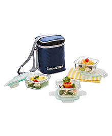 Signoraware Director Glass Lunch Box Set With Bag - 310 Ml Each