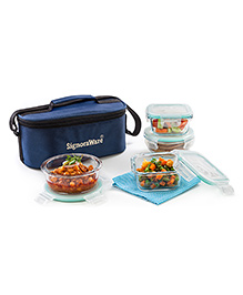 Signoraware Double Decker 4 Piece Glass Lunch Box Set With Bag - Blue