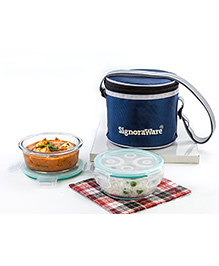 Signoraware Small Glass 2 Piece Lunch Box Set With Bag - Blue
