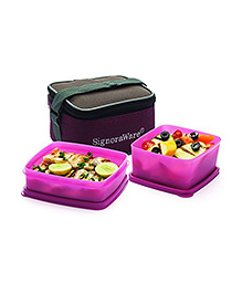 Signoraware Quick Carry Plastic Lunch Box With Bag (Colors May Vary)