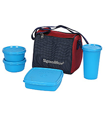 Signoraware 4 Pieces Lunch Box Set With Insulated Bag (Assorted Colours)