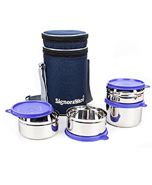 Signoraware Stainless Steel Lunch Box Set Of 4 With Insulated Bag (Assorted Colours) - 1994556