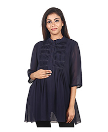 9teen Again Georgette Maternity Wear - Navy Blue