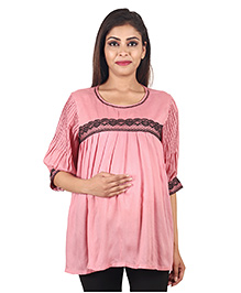 9teen Again Moss Crepe Maternity Top - Dusty Pink