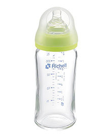 Richell Wide Neck Glass Feeding Bottle Green - 260 Ml