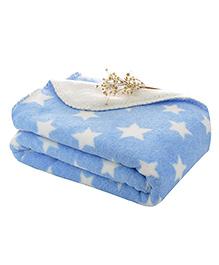 My NewBorn Double Layer Shawl Cum Blanket Star Print - Blue