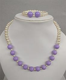 Tiny Closet Pearl Necklace & Bracelet - Purple