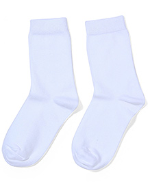 Mustang Solid Color School Socks - White