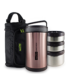 Home Puff Double Wall Vacuum Insulated Stainless Steel Lunch Box Rose Gold - 1700 Ml