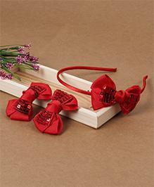 Babyhug Headband And Hair Clips With Shiny Bow - Red