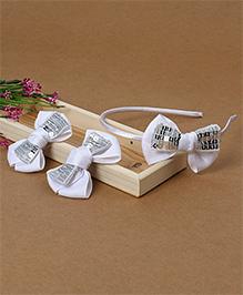 Babyhug Headband And Hair Clips With Shiny Bow - White