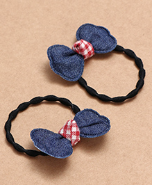 Babyhug Hair Rubber Band With Bow Pack Of 2 - Blue Red