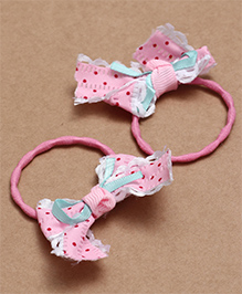 Babyhug Hair Rubber Band With Bow Pack Of 2 - Pink - 2002278