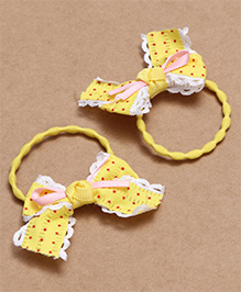 Babyhug Hair Rubber Band With Bow Pack Of 2 - Yellow - 2002279