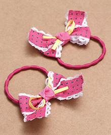 Babyhug Hair Rubber Band With Bow Pack Of 2 - Dark Pink - 2002280