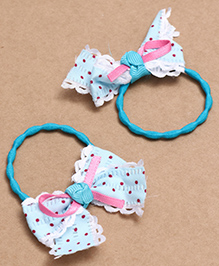 Babyhug Hair Rubber Band With Bow Pack Of 2 - Teal Blue