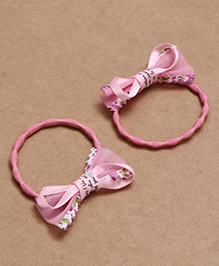 Babyhug Hair Rubber Band With Bow Pack Of 2 - Pink - 2002283