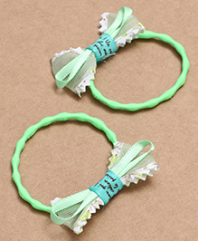 Babyhug Hair Rubber Band With Bow Pack Of 2 - Green