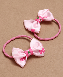 Babyhug Hair Rubber Band With Bow Pack Of 2 - Pink