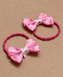 Babyhug Hair Rubber Band With Bow Pack Of 2 - Dark Pink