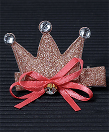 Babyhug Hair Clip Crown Design With Bow - Dark Peach