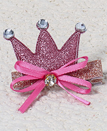 Babyhug Hair Clip Crown Design With Bow - Dark Pink