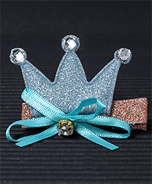 Babyhug Hair Clip Crown Design With Bow - Dark Blue