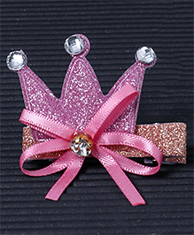 Babyhug Hair Clip Crown Design With Bow - Pink