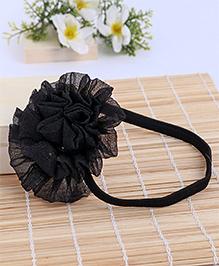 Babyhug Elastic Headband With Ruffle Flower - Black