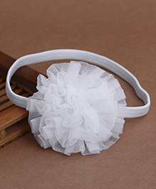 Babyhug Elastic Headband With Ruffle Flower - White