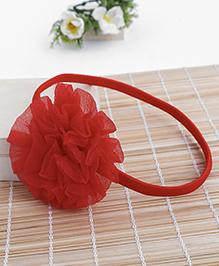 Babyhug Elastic Headband With Ruffle Flower - Red